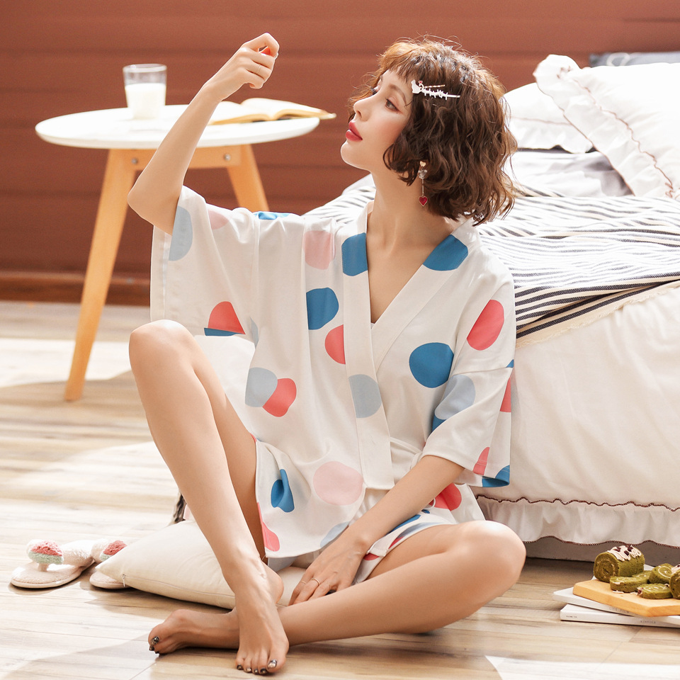 JULY'S SONG Womens Cotton Loose Nightwear Summer Kimino Pajamas SetsLadies V Neck Polka Dot Shorts Sleepwear Female Pyjamas