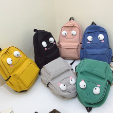 Nylon Women Backpack Cute Cartoon School Bag for Teenage Girl Simple Large Capacity Women Backpack Solid Color Female Travel Bag