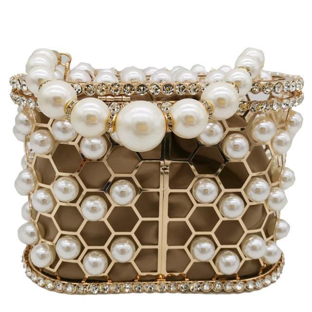 Pearl Beaded Evening Bucket Diamond Clutch  4