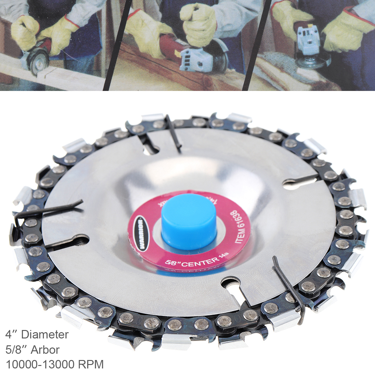 4 Inch 22 Tooth Durable Angle Grinder Disc Wood Cutting Grooved Saw Blade Grinder Chain Disk Woodworking Sculpting Tool