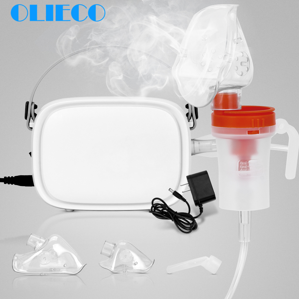 OLIECO Portable Compressor Nebulizer Medication Mini Handheld Home Child Kids Steaming Device Inhaler Kit Recharge Silent Light