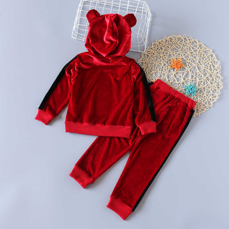Girls Clothes Winter Autumn Long Sleeve Gold Velvet Hoodie + Pants Sports 2Pcs Suits Baby Clothes Kids Clothes
