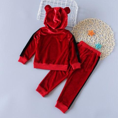 meninas roupas de inverno outono manga longa ouro veludo hoodie calcas esportes 2 pcs ternos