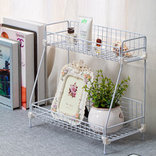 Kitchen Bathroom Toilet Dresser Desk Cosmetics Multifunctional Iron Double Shelf Storage Shelves Daily gadget storage