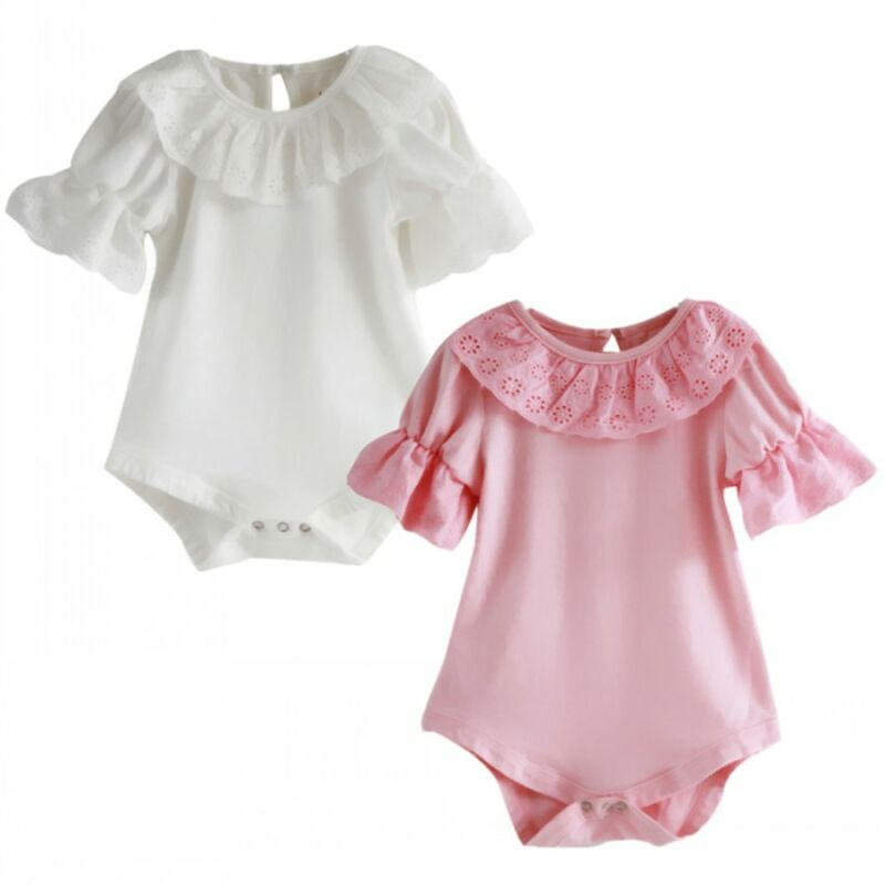 Lace Collar Infant Toddler Baby Girls Bodysuits Short Sleeve Solid Color Bodysuit One-piece Outfits Playsuit Sunsuit 0-18M