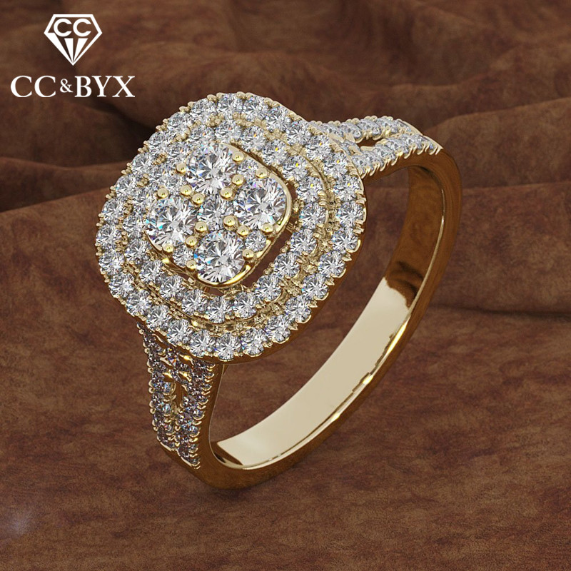 CC Wedding Rings For Women Cubic ZIrconia Square Stone Ring Luxury Yellow Gold Engagement Anel Accessories Drop Shipping CC2338