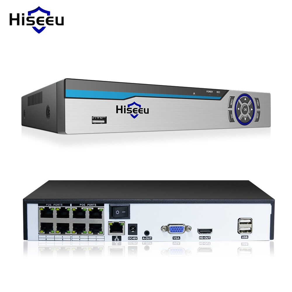 Original Hiseeu 4K 8MP POE NVR 8CH Audio ONVIF H.265 Surveillance Security Video Recorder For POE IP 1080P 4MP 5MP 8MP Camera
