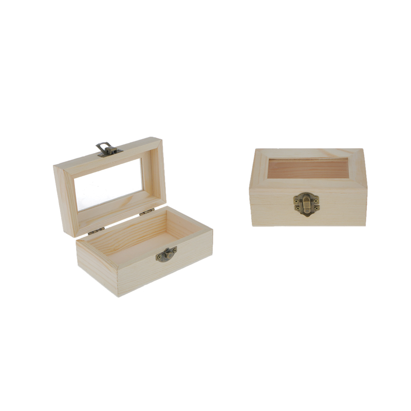 Unfinished Wooden Tool Jewelry Storage Box Glass Lid Chest Case Keepsake Gift DIY Jewelry Organizer Handmade Craft Wooden Case