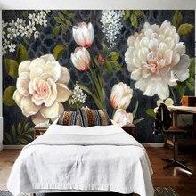 Estilo europeu retro flores mural papel de parede 3d tulipas rosa peônia pintura ao ar livre sala estar quarto sala jantar pano de fundo