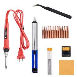 Herramientas de soldadura LCD temperatura ajustable 220V 80W, calentador de cerámica, puntas de soldadura con bomba de desoldar, puntas de cobre