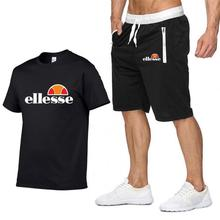 New Brand Cotton Mens Sets Summer Short sleeve t-Shirts Shorts Set Contrast color Two Piece Shorts+homme Tracksuit