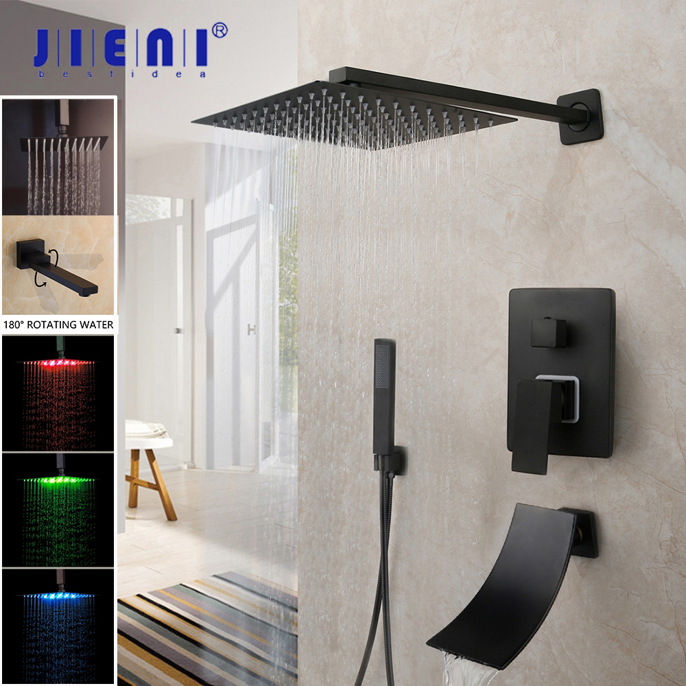 JIENI 8 16 Inch Matte Black Rainfall Shower Faucet Tub Led Bathtub Rain Square Shower Head Recommended Products Cards Carousel