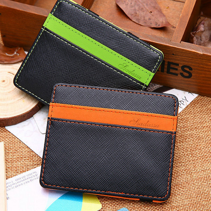 Men And Women Magic Wallet PU Leather Korean Version Of The Elastic Band Personality Creative Wallet Multi-Function Wallet Plaid image