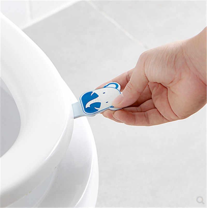 Dessin animé mignon couverture de toilette dispositif de levage salle de bains toilette couvercle poignée autocollant Portable sanitaire poignée salle de bains siège accessoires