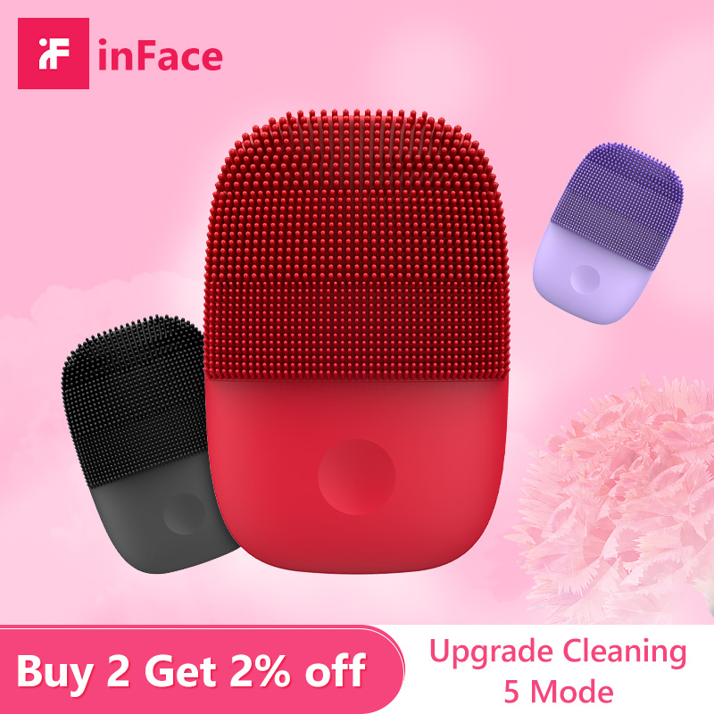 Inface Face Cleansing Bbrush Electric Sonic Deep Pore Cleaning Wash Pad Exfoliating Blackhead Removal Face Skin Care Tools