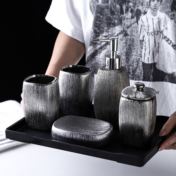 Electroplated Silver Ceramic Bathroom Accessories 6pcs Set Wash Set/Melamine tray/Lotion Soap Dispenser/Toothbrush Holder 2