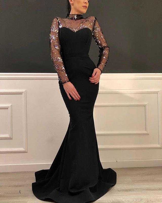 Preto longo sereia baile de formatura formal vestidos 2020 luxo sparkly alto pescoço ilusão manga longa ocasião vestidos de noite - 2