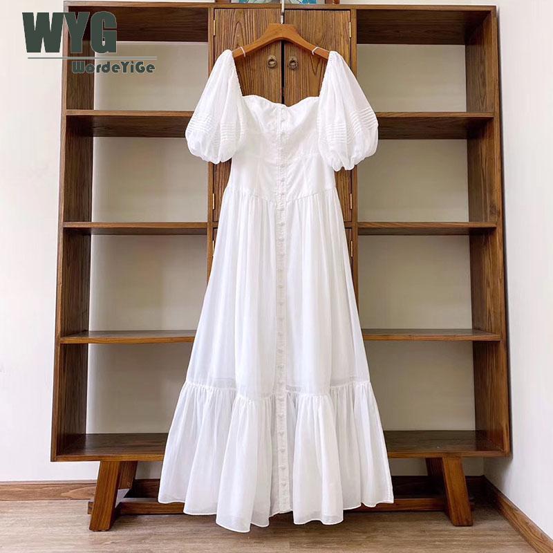 Romantic White Long Dresses 2020 Summer New England Fashion Style Short Lantern Sleeve Slim Elegant Off the Shoulder Dress