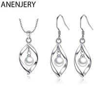 ANENJERY 925 Sterling Silver Jewelry Sets Imitation Pearl Twist Water Drop Necklace+Earrings For Women Gift(China)