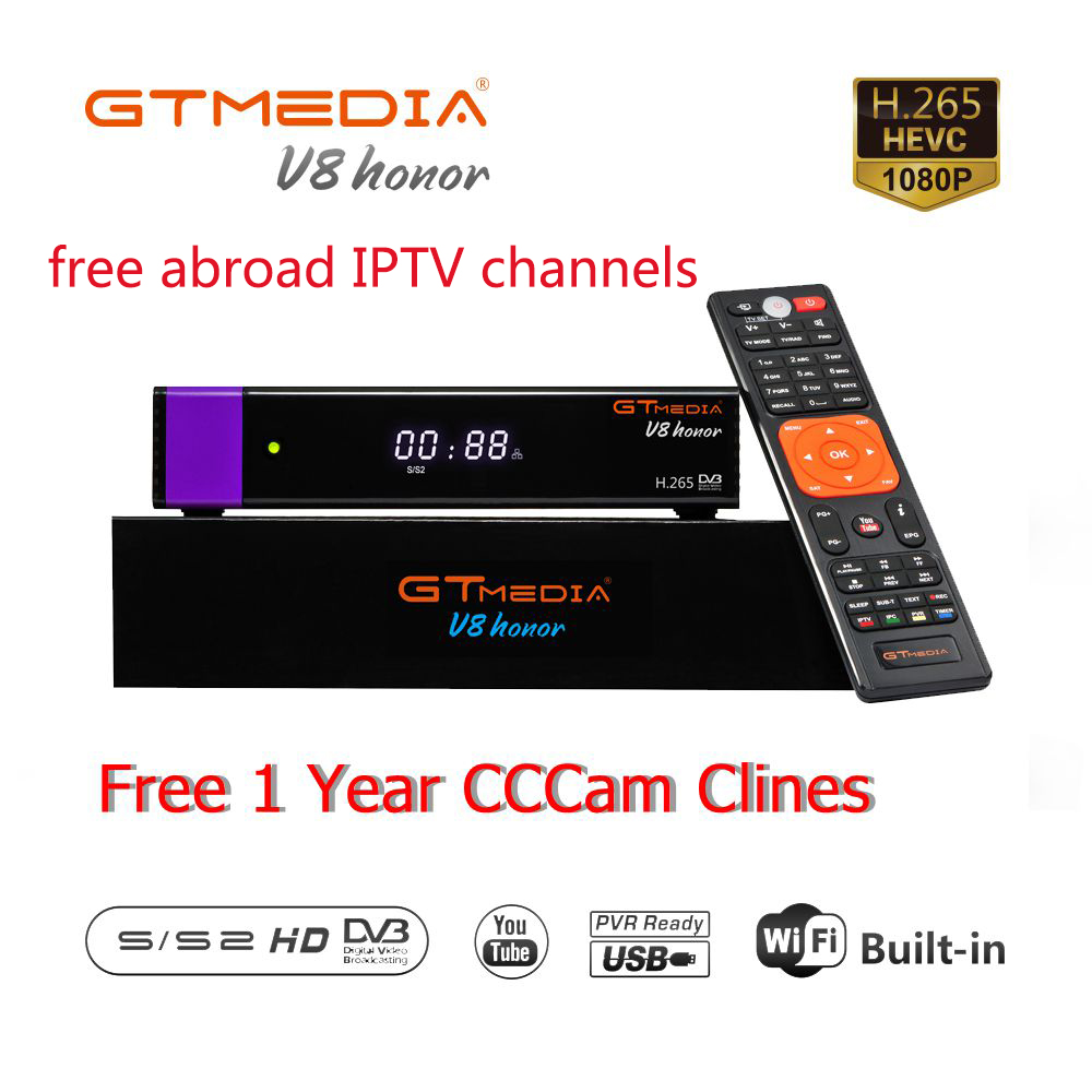 Receptor Gtmedia V8 Honor Built-in WIFI Power By Freesat V8 Nova DVB-S2 Europe Cline For 3 Years TV Box Same As V9 Super