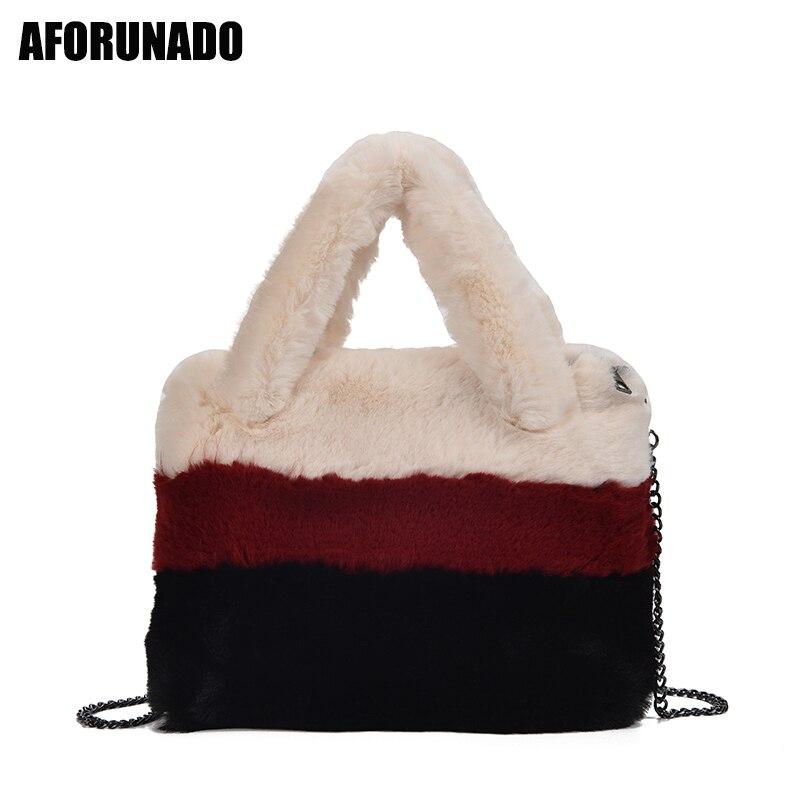 Luxury Handbags Women Bags DesignerWinter New Quality Soft Plush Shoulder Bags Elegant Small Cluth Crossbody Bags For Women 2019