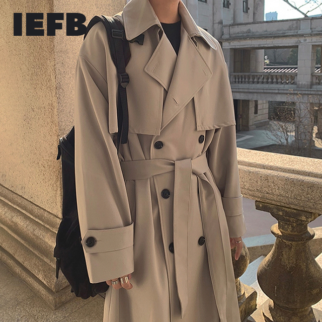 IEFB Men's Wear 2021 Spring  Fashion New Double Breasted Clothes Male Long Coat Loose Overcoat Trend Handsome Casual Windbreak