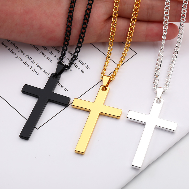 Simple Cross Necklace Pendant for Men Boy Black Gold Silver Color Crucifix Necklaces Male Jewelry Religious Christian