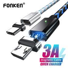 Cable magnético Micro USB tipo C para teléfono móvil, Cable USB de carga rápida 3A para Android