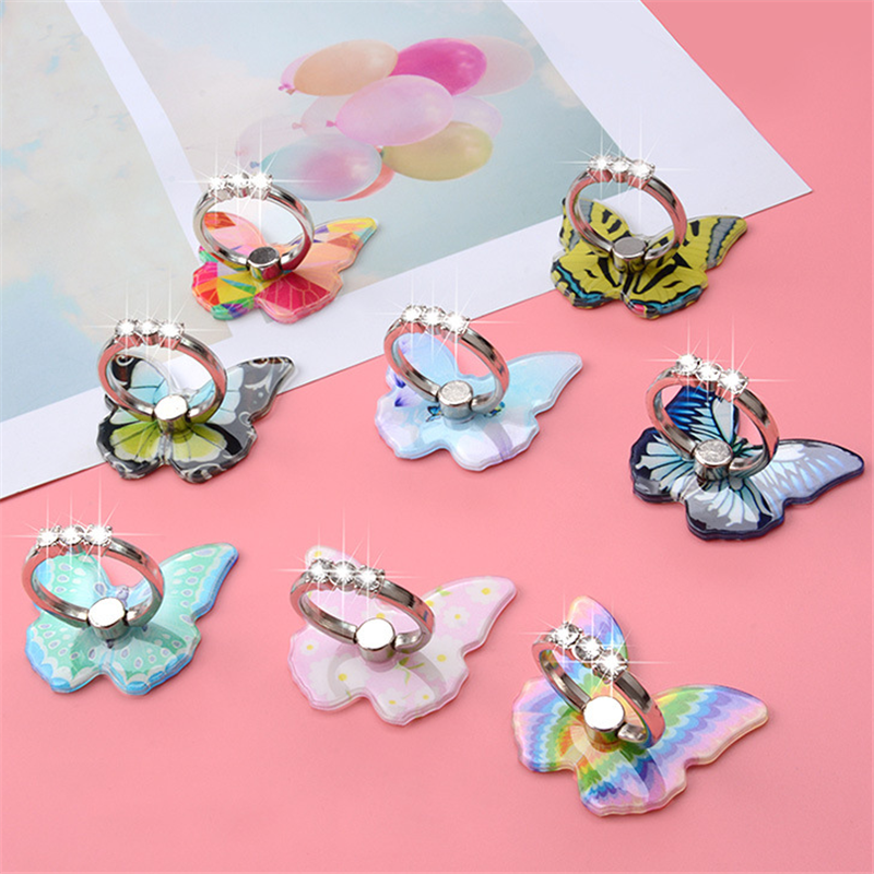 Butterfly Metal Mobile Phone Holder Stand Car Mount Stand Rhinestone Finger Ring Smart Phone Stand Holder For Iphone All Phone