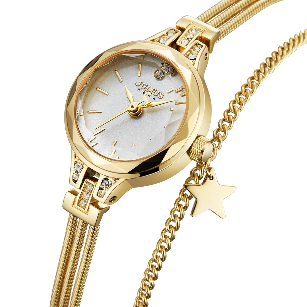 Gold Stars Ladies Luxury Bracelet Wristwatch Womens Steel Thin Clocks Beautiful Girl Love Crystal Bling Diamond Fashion Watches
