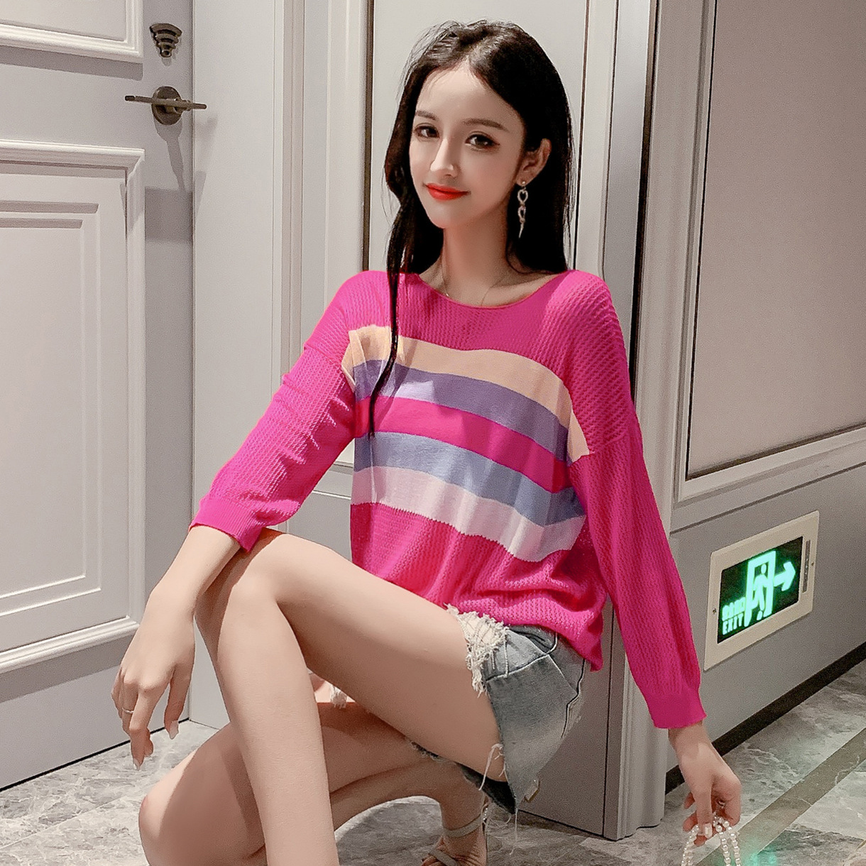 QPFJQD Knitted Sweaters Pullovers O-Neck Long-Sleeve Slim Colorful Autumn Korean Striped