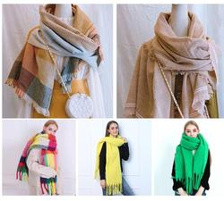 New cdt  autumn and winter imitation cashmere solid color hand-fringed warm thickening scarf