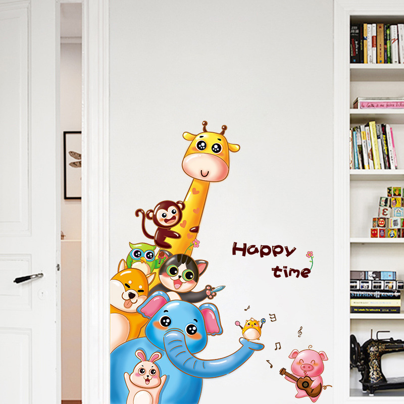 Cartoon Monkey Giraffe Animals PVC Art Baby Wall Stickers For Kids Rooms Wall Decoration Sticker Mural Bedroom Door Art Stickers