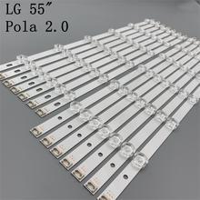"""12 램프 LED 백라이트 스트립 LG 55LA616V 55LA6200 55LA6205 55LA6208 55LA620S  ZA UA 바 키트 텔레비전 LED 밴드 Pola 2.0 55"""""""