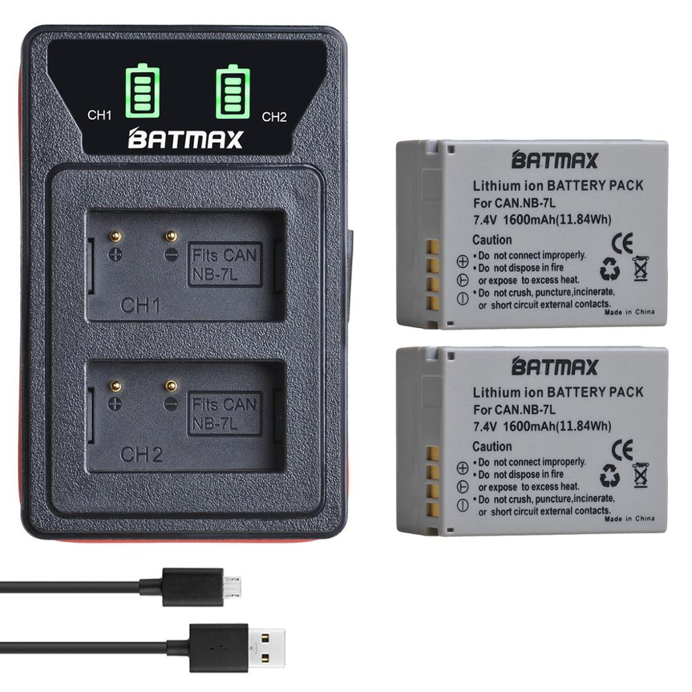 Batmax NB-7L NB 7L NB7L Battery+New LED USB Dual Charger With Type C Port&USB Cable For Canon PowerShot G10 G11 G12 SX30IS