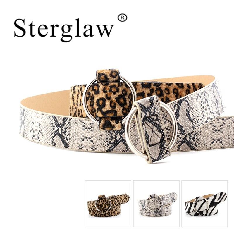 105*3CM NEW 2020 Wide Female Belt Needle-free Round Buckle Snakeskin Belts For Women Leopard Print Luxury Female Belts N032