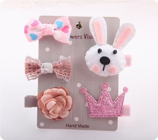 5Pcs//Set Kids Infant Hairpin Baby Girl Hair Clip Bow Flower Mini Hair Accessory