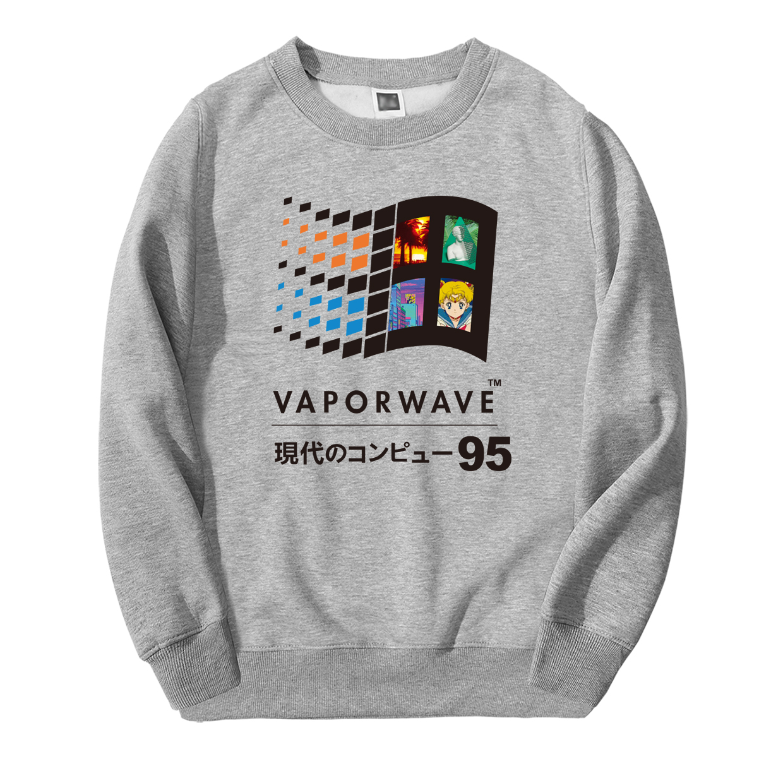 2019 Spring Winter Vaporwave Vintage Retro Japanese Anime Aesthetic Men Sweatshirt Hoodies Hip Hop Streetwear Casual Sportswear