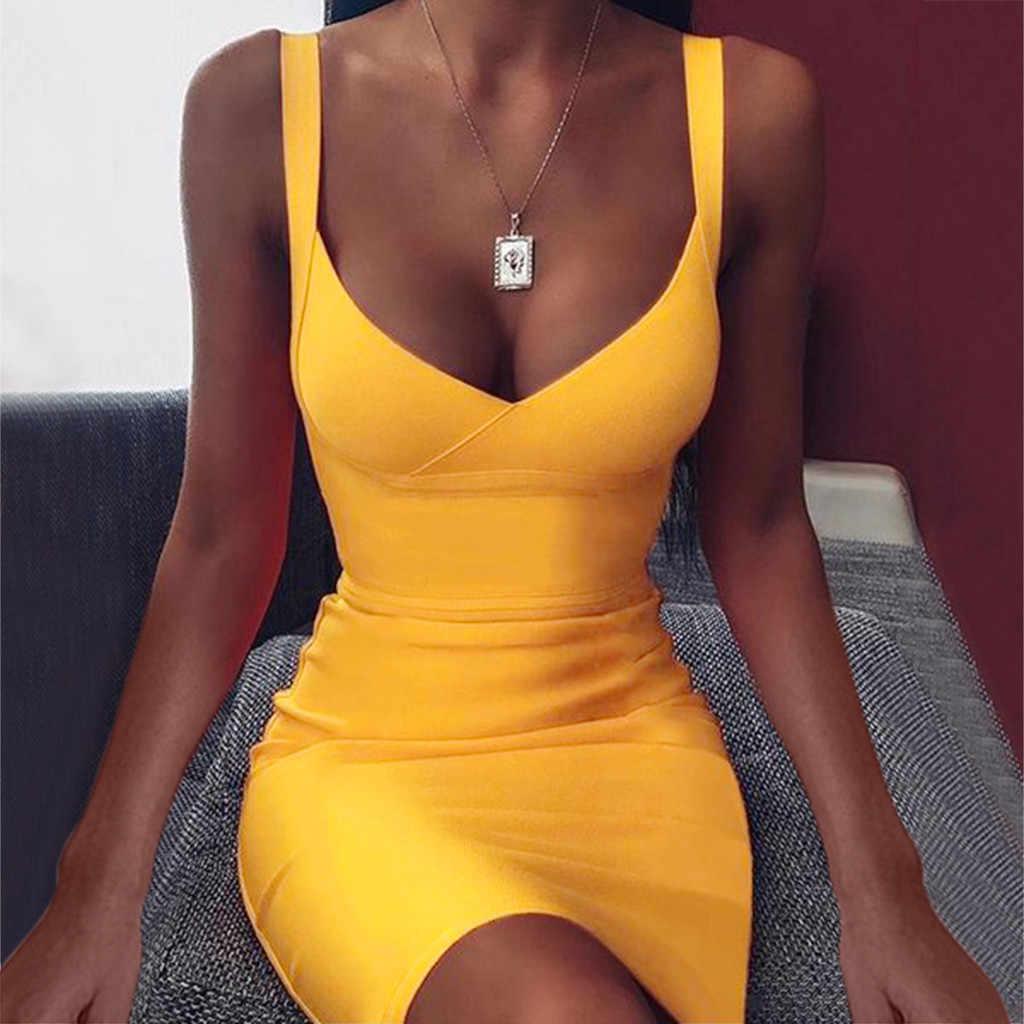 2020 新ホット vestidos 女性ドレス夏のセクシーなボディコンドレス無地スリングノースリーブミニショート女性のドレスクラブパーティードレス