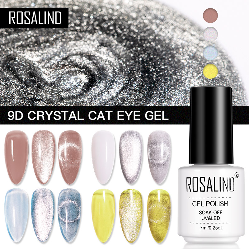 Кристаллический гель ROSALIND 9D «кошачий глаз» с магнитной палочкой, Гель-лак для ногтей, все для маникюра, Полупостоянный отмачиваемый Гель-ла...