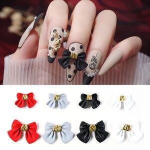 10 pçs/lote japonês arte do prego arco-laço decorações liga jóias 3d fosco encantos do prego preto/branco/vermelho bowknot acessórios te #024