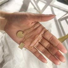 Лидер продаж многослойное ожерелье с квадратным и круглым кулоном