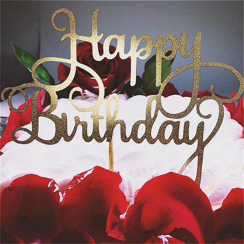 Bolo de cupcake azul dourado e prateado, feliz aniversário, bolo, top, bandeiras para amor, festa de aniversário, suprimentos de decoração