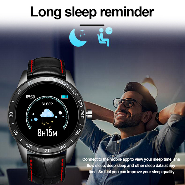 LIGE 2020 New leather waterproof smart watch Men Sport Fitness Heart rate blood pressure tracking smartwatch For iPhone Android 3