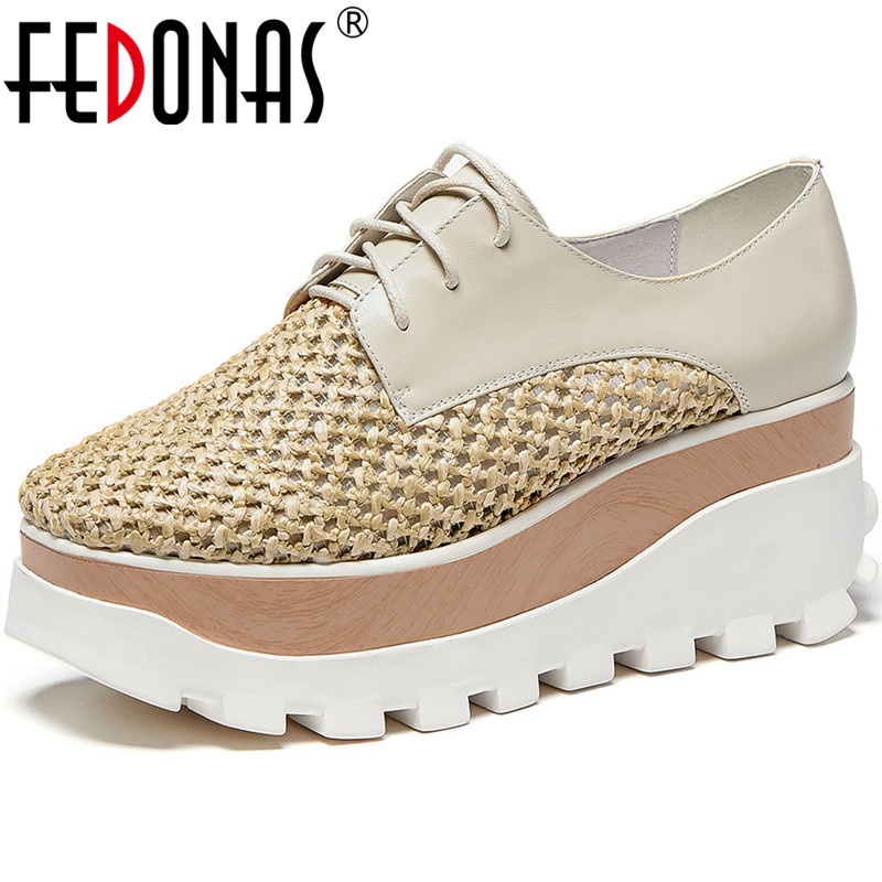 FEDONAS Cross Tied Genuine Leather Platforms Women Shoes Popular Patchwork Round Toe Flats Newest Summer Party Basic Shoes Woman