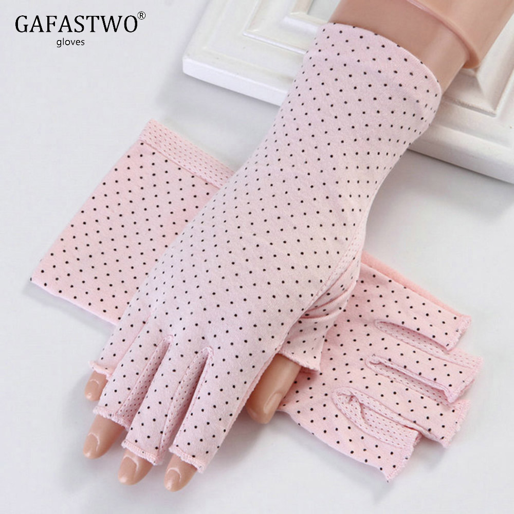 Women's Gloves Summer Sun Protection Fingerless Ladies Anti-UV Driving Bicycling Ultra-Thin Breathable Cotton Women Gloves luvas