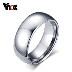 Vnox Classic Men Rings Real Tungsten Male Wedding Jewelry Hand polished High Quality