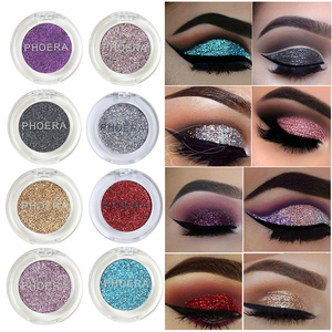 PHOERA 12 Color Shimmer Glitter Sequins Eyeshadow Pigmented Monochrome Eye Shadow Clear And Brilliant Eye Makeup TSLM1