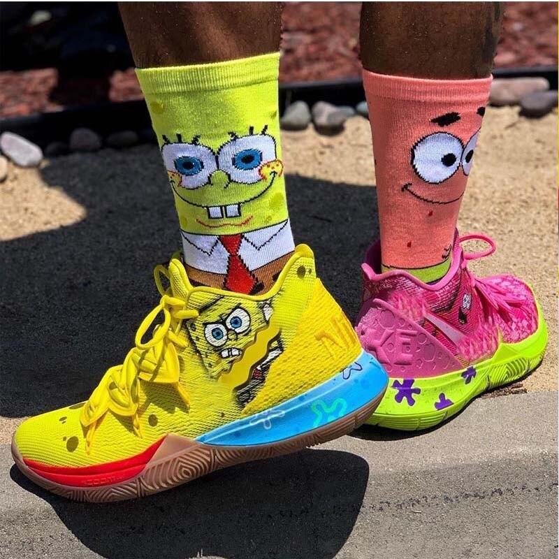 Cartoon Funny Novelty Women Men Ankle Crew Short Socks Sponge Cotton Bob Patrick Socks For Women Unisex Basketball Socks Long