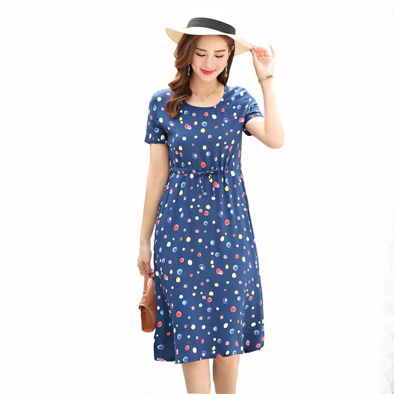 Dresses women 2019 fashion summer dress print vintage O-neck plus size knee-length dress vestidos de festa